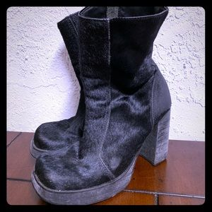 Black Steve Madden Chunky Pony Hair Boots